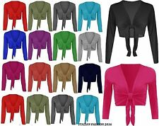 Womens Plain Bolero Front Tie Knot Shrug Ladies Cropped Long Sleeve Cardigan Top