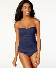 NWT Anne Cole Twist-Front Shirred Bandeau One-Piece Swimsuit Navy Sz 8,14 Defect