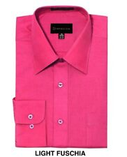 MEN DRESS SHIRTS BY DIMENSION BUTTON DOWN SOLID COLOR BUSINESS SHIRTS FUCHSIA