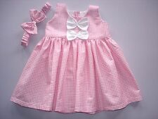 Baby Girl Dress + Headband pink and white gingham * Dispatch Next Day