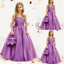 Elegant Princess Dress Taffeta Purple Beaded Flower Girl Dresses Party Prom Gown