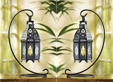 """2 BLACK MOROCCAN TABLETOP LANTERNS WITH STANDS - 13"""" HIGH - METAL & GLASS"""