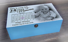 Personalised wooden memory gift box, 25th or any age birthday present