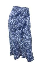 Marks & Spencer Classic Navy Blue Print Flippy Skirt with Elasticated Waist