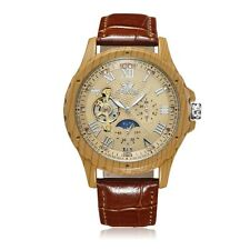 Luxury Wood Case Steampunk Leather Analog Mens Automatic Mechanical Wrist Watch