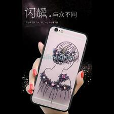 New Colorful Crystal Girls Black Bumper Matte Case Cover for iPhone 7 7Plus 6 6S