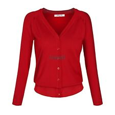 Angvns Stylish Ladies Women Casual Long Sleeve V Neck Solid Button Knitting LM01