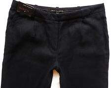 BNWT NEXT Ladies navy Slouch wide smart casual 100% linen trousers 10/12/14 R/L
