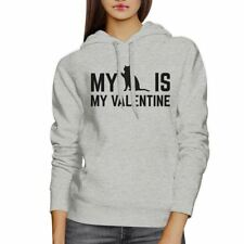My Cat My Valentine Unisex Grey Hoodie Funny Graphic For Cat Lover
