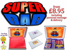 SUPER DAD FATHERS DAY Personalised Gift Hampers Chocolate Bars Retro Sweets