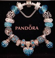 NEW Authentic PANDORA Sterling Silver BRACELET with European Charms & Beads #22