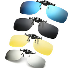Polarized Clip on Sunglasses clip on glasses square Polaroid Lens Men Women mirr