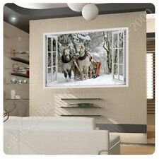 POSTER Or STICKER Decals Vinyl Horses In The Forest Fake 3D Window