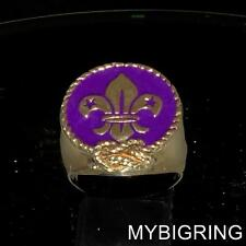 BRONZE MENS LILY RING FLEUR DE LIS WITH STARS BOYSCOUT PURPLE ENAMEL ANY SIZE