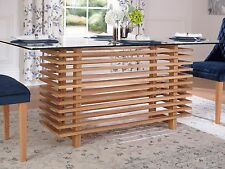 Lattice Glass Top Dining Table With Slatted Solid Oak Base to seat 6, Table ONLY