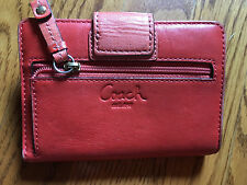 COACH Genuine Deep RED Leather RARE Wallet Clutch Purse Zipper and Pockets $9! *