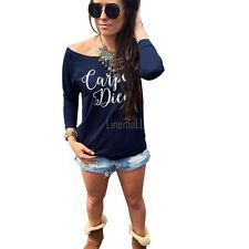 New Fashion Sexy Womens Long Sleeve Latter Print Loose Bottoming T-Shirt LM01