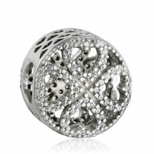 authentic sterling-silver Charm Pave CZ Petals Love Four Leaf Clover Charm Beads