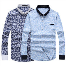 Men Summer Top Luxury Slim Fit Long Sleeve Camouflage Print Casual Shirts Blouse