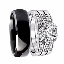 Her Sterling Silver Heart AAA CZ His Titanium 4PC Matching Wedding Ring Band Set