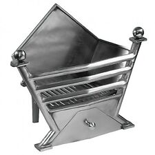"""Fire Baskets """"Marquise"""" basket in Full polished with Gas or Solid Fuel Fire"""