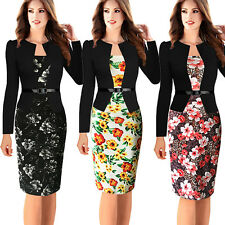 Womens Long Sleeve Floral Printed Faux Jacket Belted Patchwork Work Pencil Dress