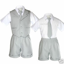 New Baby Toddler Formal Eton Gray 4pc Tie Vest Shorts Boy Suit Outfit S-XL 2-4T
