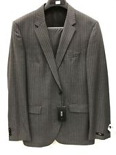 NEW Hugo Boss Mens Suit 100% Wool 2 Button Gray Pinstripe Made In USA 44 L