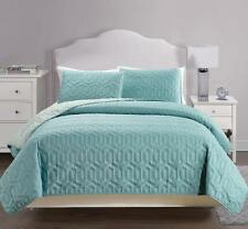 USEFUL 3 PIECE REVERSIBLE SOLID BEDSPREAD QUILT SET - CAL.KING/KING/QUEEN SIZE