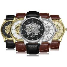 Mens Luxury Leather Crystals Punk Automatic Mechanical Sport Analog Wrist Watch