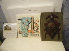 Vintage 3 Piece Mixed Lot African Mask Picture Vermont Souvenir Green Mountain