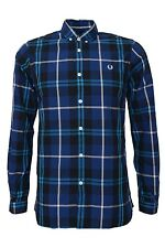 Fred Perry Blue Check Shirt Slim-Fit Mens Long Sleeve