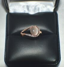GLAMOROUS 1.28ct NATURAL OPAL CATS EYE 14K Y GOLD OVERLAY STERLING  SILVER RING