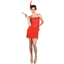 Ladies Showtime Flapper Red Fancy Dress Costume for 20s 30s Gangsters Moll Cospl