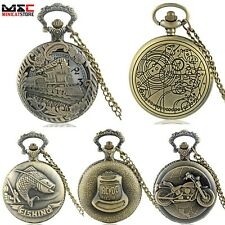 Steampunk Style Antique Design Pocket Watch Chain Quartz Necklace Pendant Gift