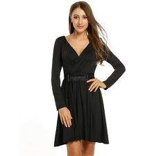 Women V-Neck Long Sleeve Fit and Flare Solid Pleated Dress With Belt LM02