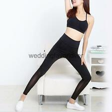 Women Stretch Workout Gym Yoga Leggings Running Fitness Pants Trousers Black