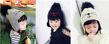 Baby Toddler Kids Fur Ball Crochet Knit Winter Warm Beanie Hat Crochet Hat NG
