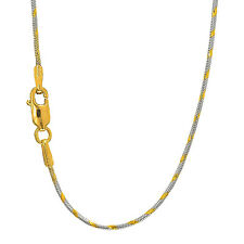 """14k Solid White & Yellow Gold 1 mm Swirl Snake Chain Necklace 16"""" 18"""" 20"""""""