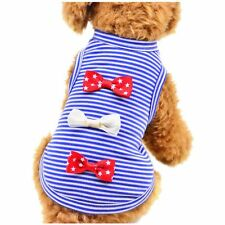 Small Pet Puppy Dog Cat Bow Shirts Clothes Striped Vest T Shirt Apparel Top Cute