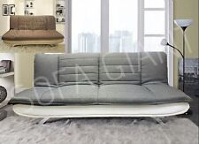 HOT! New SOFA BED 3 Seater Fabric Pillow Top Faux Leather Base Also Brown/Beige