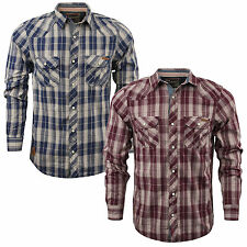 Mens Tokyo Laundry 'Bower' Checked Long Sleeve Collared Cotton Shirt Sizes S-XL
