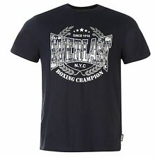 MENS NAVY EVERLAST BOXING GYM LOGO CREW NECK SHORT SLEEVE TEE SHIRT T-SHIRT TOP