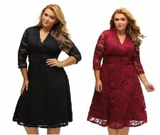 Plus Size XXL XXXL V Neck Vintage Lace Party Dress Women Evening Gown Maxi Dress