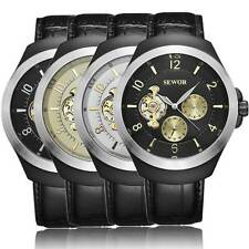 Men Tourbillon Mechanical Automatic Stainless Steel Military Wrist Watch Leather
