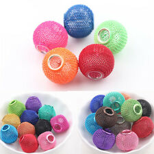 Colorful Big Hole Rondelle Ball Beads Metal Mesh Fit Jewelry Making DIY Craft