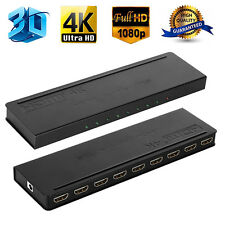 Ultra HD 4K 1X8 8 Port HDMI Splitter Repeater Amplifier Hub 3D 1080p 1 In 8 Out
