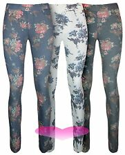 Womens Floral Jeggings Leggings Trousers Stretchy Jeans Style Leggings