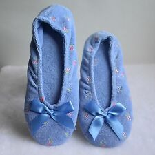Isotoner Womens Stretch Terry Ballet Style Blue Floral Ballerina Slippers Size S