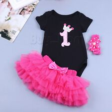 2PCS Newborn Infant Baby Girls Outfit Clothes Romper 1st Birthday + Tutu Skirt